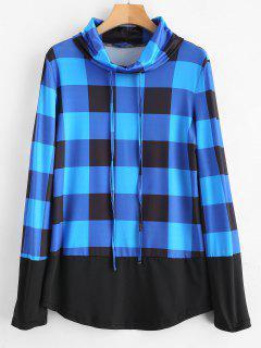 Camiseta De Manga Larga Con Cuello Alto A Cuadros - Azul S