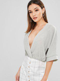 Solid Color Batwing Sleeve Blouse - Pale Blue Lily S