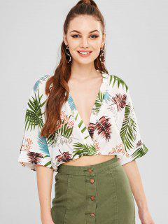 Leaves Print Batwing Sleeve Blouse - White M
