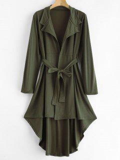 Belted Lapel Longline Cardigan - Army Green M