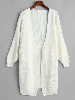 Batwing Sleeve Open Front Cardigan - White