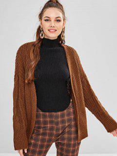 Chunky Knit Open Drop Shoulder Cardigan - Brown