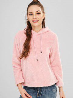 Solid Color Faux Fur Drawstring Hoodie - Pink S