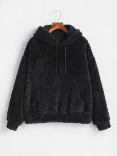 Fluffy Drop Shoulder Pocket Hoodie - Black M