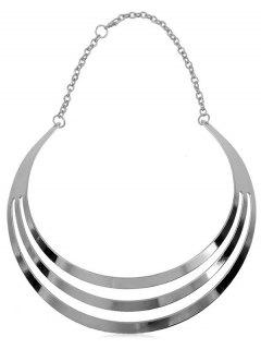 Hollow Out Design Alloy Necklace - Silver