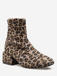 Chunky Heel Suede Sock Short Boots - Leopard Eu 36