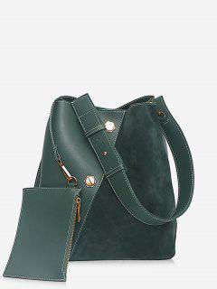 2Pcs Rivet Design Bucket Crossbody Bag - Medium Sea Green