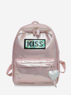 Heart Shape Hanging Drop Zipper Backpack - Khaki Rose