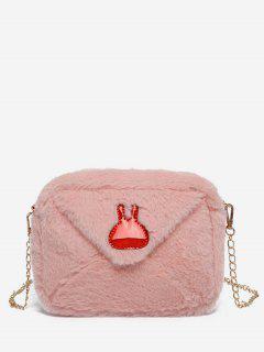 Bunny Printed Plush Mini Crossbody Bag - Light Pink