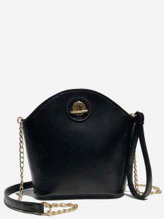 Shell Shape PU Design Crossbody Bag - Black