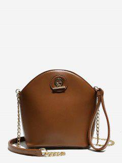 Shell Shape PU Design Crossbody Bag - Brown