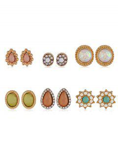 6Pcs Water Drop Shape Rhinestone Earrings Set - Gold