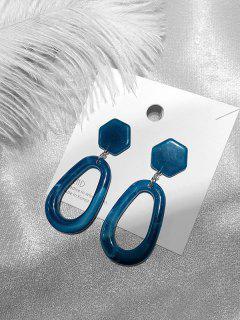 Acrylic Geometric Shape Stud Drop Earrings - Blue