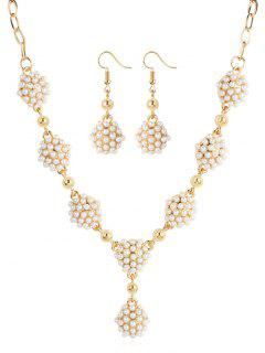 Beaded Artificial Pearl Drop Jewelry Set - Gold