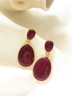 Glaze Water Drop Shape Drop Earrings - Maroon