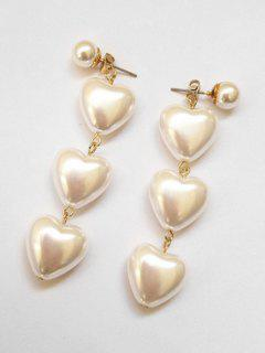 Artificial Pearl Heart Shape Long Earrings - White