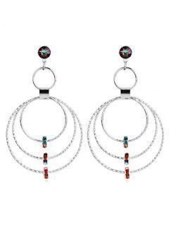 Layered Hoop Artificial Crystal Hollow Earrings - Silver