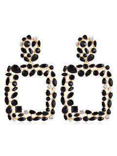 Bohemian Style Water Drop Hollow Design Earrings - Black