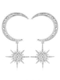 Rhinestoned Star And Moon Pattern Drop Earrings - Silver