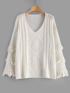 Cable Knit Wide Sleeve Fringed Oversized Sweater - Warm White L
