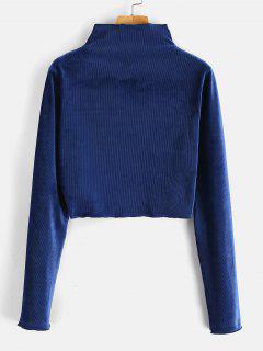 T-shirt Court Manches Longues à Col Cheminée En Velours - Bleu Foncé S