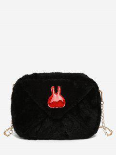 Bunny Printed Plush Mini Crossbody Bag - Black