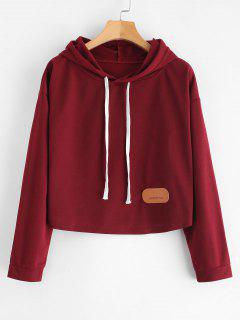 Contrast Drawstring Cropped Hoodie - Firebrick