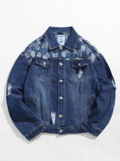 Geometric Ripped Denim Jacket - Deep Blue L