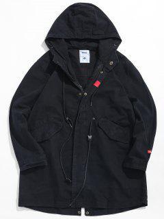 Waist Drawstring Camo Trench Coat - Black M