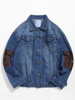 Elbow Patchwork Letter Embroidery Denim Jacket - Denim Blue Xl