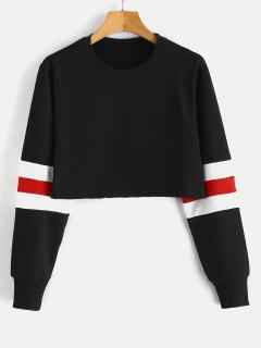 Striped Sleeve Cropped Terry Pullover Sweatshirt - Black S