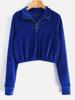 Zipped Cropped Velvet Sweatshirt - Blueberry Blue M
