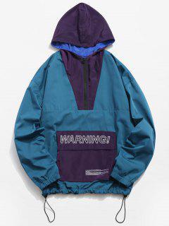 Half Zipper Pullover Windbreaker Jacket - Blue Ivy L