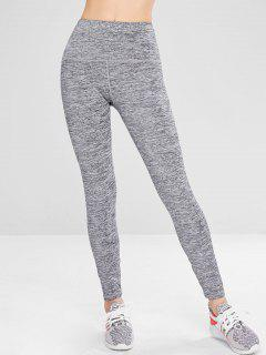 Marled Athletic Yoga Gym Leggings - Gray L