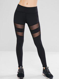 Mesh Panel Workout Sport Leggings - Black M