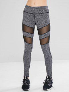 Mesh Panel Marled Sport Yoga Leggings - Gray L
