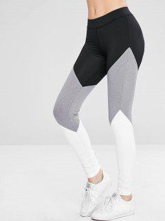 Athletic Color Block Gym Sport Leggings - Black S