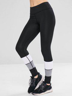 Workout Color Block Gym Sport Leggings - Black L