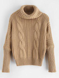 Turtleneck Chunky Cable Knit Sweater - Tan