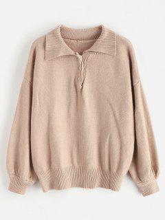 Button Drop Shoulder Loose Sweater - Tan