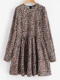 Vestido De Manga Larga Con Estampado De Leopardo - Leopardo L