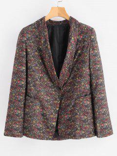 Blazer Con Estampado Floral De Cuello Chal - Multicolor L