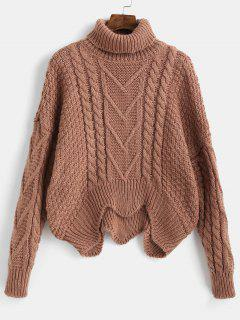 Turtle Neck Wave Hem Sweater - Brown