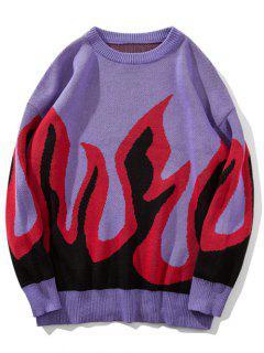 Pull Motif De Flamme à Col Rond - Violet Buisson M