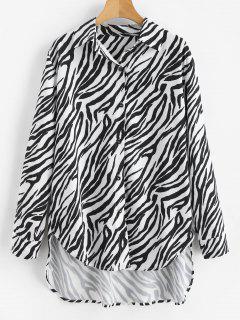 Zebra Print Buttoned High Low Shirt - Black M