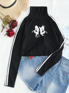 Cuello Alto Con Cinta Lateral Recortada - Negro S