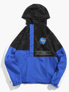 Contract Color Hooded Pullover Jacket - Ocean Blue M
