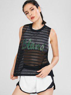 Breathable Fishnet Sport Tank Top - Black M
