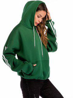 Pullover Fleece Lined Pouch Pocket Hoodie - Deep Green L