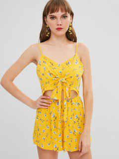 Floral Print Tie Front Cutout Cami Romper - Yellow L